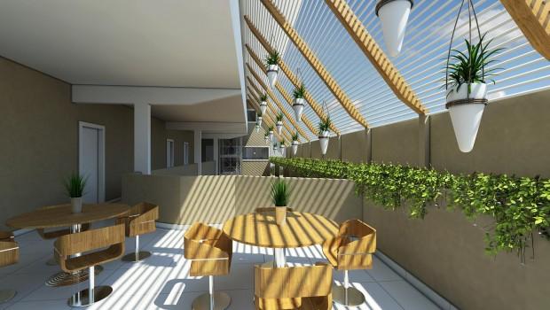 Pavimento superior:  salas, livraria,  biblioteca, bazar integrados, mesas e cadeiras para que as pessoas possam ler e conversar.